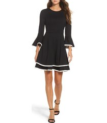 women's eliza j bell sleeve fit & flare dress, size 18 (similar to 14w) - black