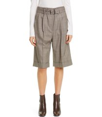 women's brunello cucinelli pleated plaid wool bermuda shorts