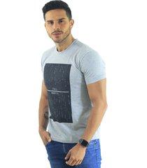 camiseta hombre manga corta slim fit gris marfil full