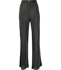 alanui sheer glitter knit trousers - black