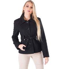 casaco de lã monacri curto preto
