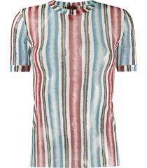jean paul gaultier pre-owned 1990s sheer striped t-shirt - blue