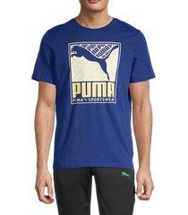 puma men's logo graphic short sleeve t-shirt - blue - size xxl