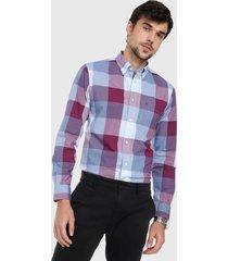 camisa azul-violeta tommy hilfiger