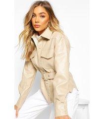 belted faux leather jacket, beige