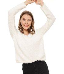sweater jacqueline de yong cheer blanco - calce holgado