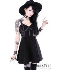 restyle mesh pentagram black gothic nu goth punk emo rocker adult womens dress