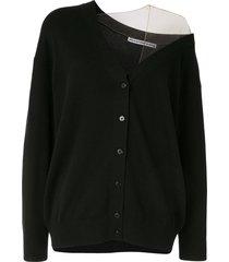 alexander wang sheer panel cardigan - black