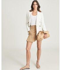 reiss luna - mini skirt with frill hemline in camel, womens, size 14