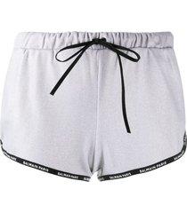 balmain logo-trim drawstring shorts - silver