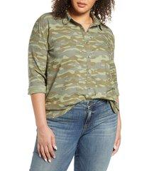 women's caslon linen blend button-up shirt