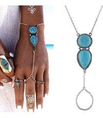 braccialetto chain della boemia con il braccialetto di fascino del braccialetto di fascino di goccia dell'acqua del dito etnico per le donne