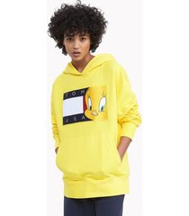 tommy hilfiger women's space jam: a new legacy x tommy jeans hoodie eureka yellow - m
