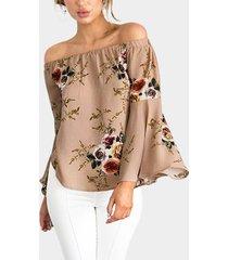 blusas de manga larga con estampado floral de gasa beige fuera del hombro