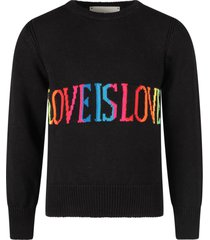 alberta ferretti black sweater with colorful love is love writing for girl