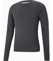porsche design evoknit herensweater met ronde hals, grijs, maat xl | puma