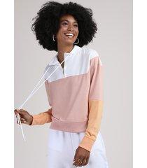 blusão de moletom feminino com recorte e meio zíper gola alta rosa