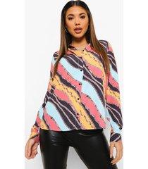 oversized sjaal print blouse, rust