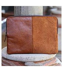leather and suede laptop case, 'elegant tones' (indonesia)