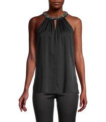 kobi halperin women's embellished silk-blend halter top - black - size s