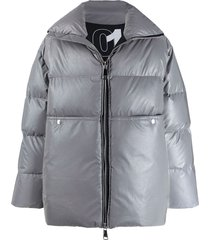 khrisjoy loose-fit padded coat - grey