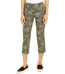 style & co camo-print capri pants, created for macy's