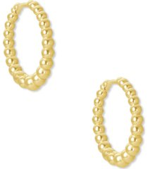 kendra scott 14k gold-plated extra-small bead-look huggie hoop earrings, 0.43""