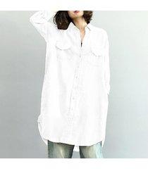 zanzea camisa bolsillos tops asimétrica mujeres solapa de manga larga ocasionales flojas de la blusa blanca -blanco