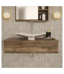 conjunto para banheiro bancada com cuba f44 folha city 800 carvalho dark