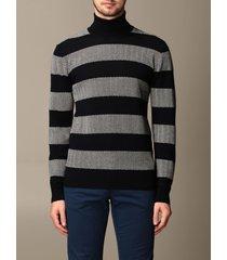 giorgio armani sweater giorgio armani turtleneck in cashmere and virgin wool with herringbone bands