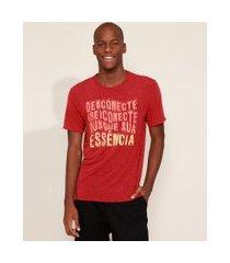 """camiseta masculina desconecte"""" com linho manga curta gola careca vermelha"""""""