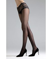 natori feathers lace top tights, women's, black, size xl natori
