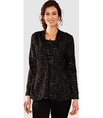 2-in-1-blouse paola zwart::zilverkleur