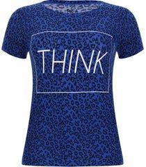 camiseta estampado miniprint think color azul, talla 6