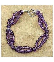 amethyst beaded bracelet, 'lilac mist' (india)