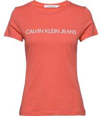 institutional logo slim fit tee t-shirts & tops short-sleeved orange calvin klein jeans