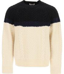 alexander mcqueen bicolor knitted sweater