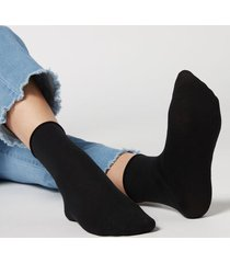 calzedonia wool and cotton short socks woman black size tu