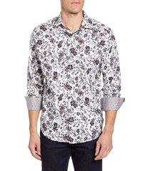 men's robert graham gardens classic fit button-up sport shirt, size large - white