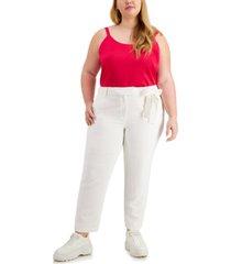 bar iii plus size side-tie slim pants, created for macy's
