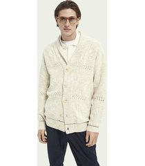 scotch & soda structured relaxed jacquard knit cardigan