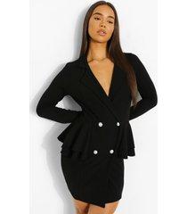 scuba blazer jurk met franjes, black