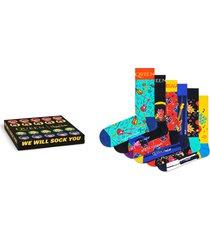 men's happy socks x queen 6-pack sock gift box, size one size - grey