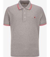 stripe detail polo shirt grey 60