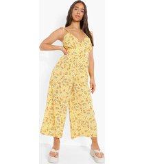 bloemen culotte jumpsuit met ceintuur, yellow