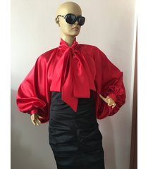 formal womens silk blouse/ red cocktail satin blouse/satin bow blouse, shirt