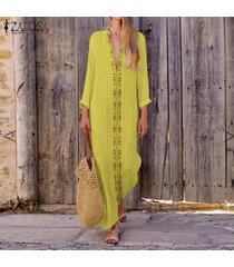 zanzea boho floral holiday beach party kaftan sundress ladies camisa larga vestidos -amarillo