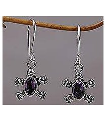 amethyst dangle earrings, 'walking tortoise' (indonesia)