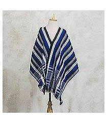 cotton kente cloth shawl, 'textured delft blue' (ghana)