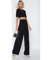 womens crop t-shirt and wide-leg pants set - black